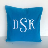 Monogram Pillow Cover Turquoise Blue Pillow Cover Housewarming Gift Decorative Monogram Pillows Dorm Decor, Hostess Gifts,
