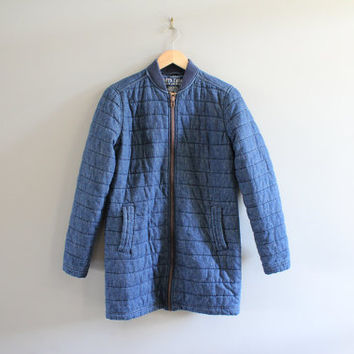 Vintage Roots Denim Jacket Quilted Jean Coat Denim Coat Vintage 90s Size S #O129A