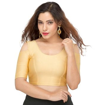 Designer Indian Gold Nylon Non-Padded Stretchable Elbow Length Sleeves Saree Blouse Crop Top (A-48)