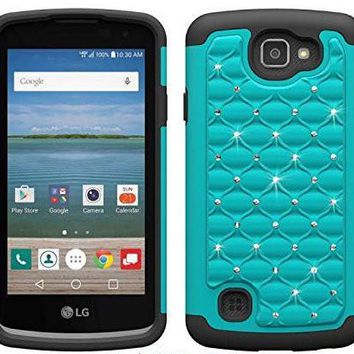 LG Optimus Zone 3 Cases | LG K4 Cases | LG Spree Cases | LG Rebel Cases, Crystal Rhinestone Slim Hybrid Dual Layer Case Cover - Teal/Black