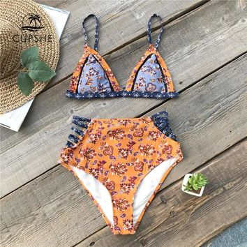 CUPSHE Flora Print High-waisted Bikini Set Women Strappy Triangle Bra Top Cutout Two Pieces Swimwear 2018 Girl Beach Swimsuits