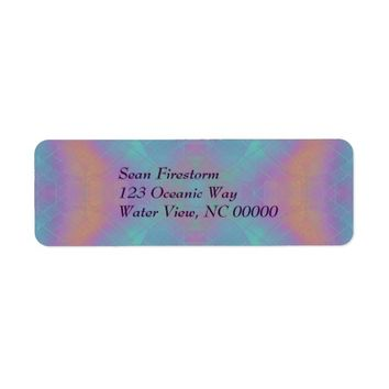Pink and Blue Abstract Label