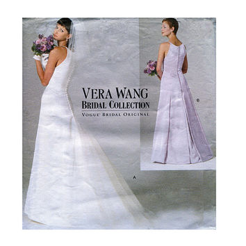 1990s WEDDING DRESS PATTERN Vera Wang Fit & Flare Bridal Gown Bust 30.5 31.5 32.5 Designer Vogue 2118 UNCuT Vintage Womens Sewing Patterns