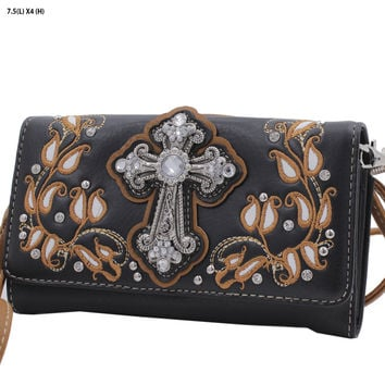 WESTERN WALLET HIPSTER CROSS BODY STYLE In Black