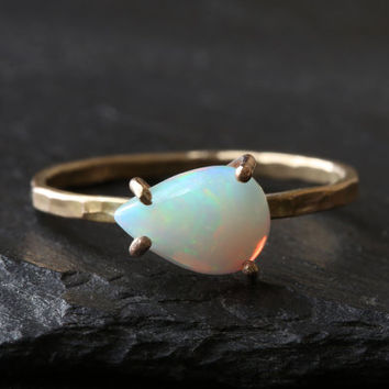 Opal Teardrop Stacking Ring