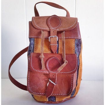 Sale///Small vintage leather backpack. One of a kind handmade vintage backpack. Boho/ hipster backpack.