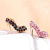 25%OFF Luxury Crystal Golden High Heels Shoes Dust Plug 3.5mm Cell Phone Plug iPhone 4 4S 5 5S Plug Samsung Charm Headphone Jack Ear Cap