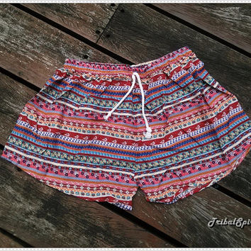 Boho Shorts Hippie Clothing Aztec Ethnic Bohemian Ikat Tank Handmade Colorful Unique From Thailand Sleepwear Nightwear Cute For Girls