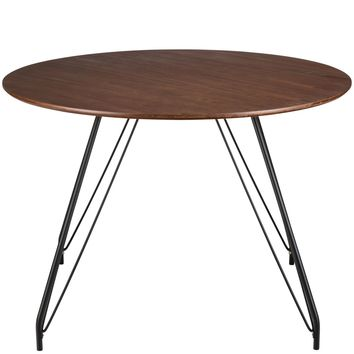 Waldron Hairpin Mid-century-inspired Round Walnut Dining Table 43""