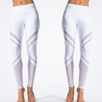 White Patchwork Fitness Yoga Pants