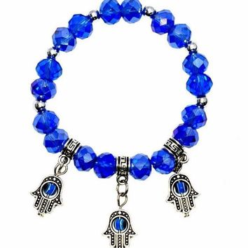 Crystal Bracelet In Any Color With 3 Silver Hamsa Charms. Wear As Anklet !