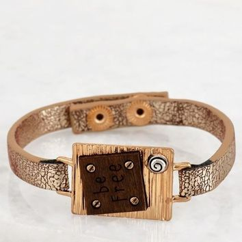 """Be Free"" Leather Bracelet - Gold"