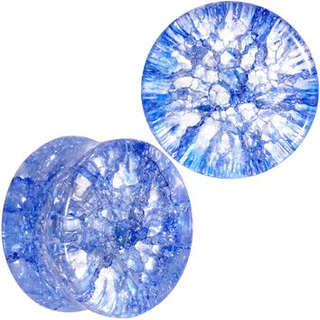 "5/8"" Blue Shattered Glass Wild Child Saddle Plug Set"