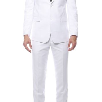 Mens ZNL22S 2pc 2 Button Slim Fit White Zonettie Suit