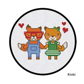 Cross Stitch Pattern Cute Foxes in Love Instant Download