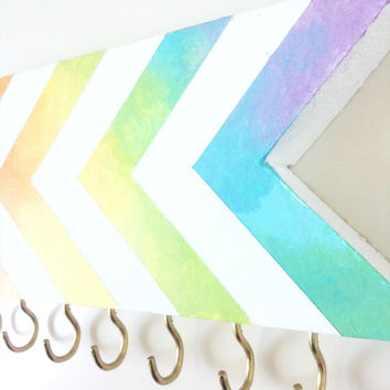 Rainbow chevron wall hook - jewelry organizer - bathroom entryway  foyer - girls room - pink blue yellow orange green