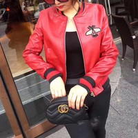"""Gucci"" Women Fashion Bee Embroidery Multicolor Long Sleeve Zip Cardigan  PU Leather Clothes Jacket Coat"