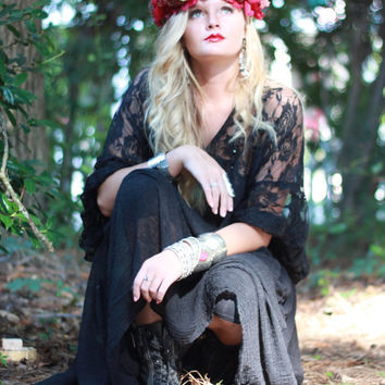 Black Gypsy Tunic Dress, Woodland goddess, Bohemian Magnolia lace Pearl, Boho dresses Vagabond wanderer, Romantic, True Rebel clothing OS