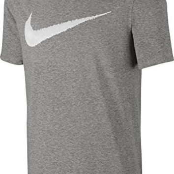 Nike Men's Sportswear Hangtag Swoosh Tee, Dark Grey Heather/White, Large