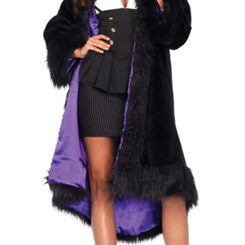 Satin Lined Faux Fur Coat