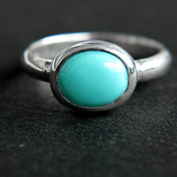 Sleeping Beauty Turquoise Ring Sterling Silver Turquoise Ring Size 4 Silversmith Simple Turquoise Ring