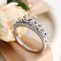 925 Silver Princess Crown Ring Promise Love Gift