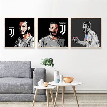 Wall Picture Sport Canva Juventus Barzagli GigiBuffon Football Poster Player Abstract Oil Painting Boys Wall Art Home decoration