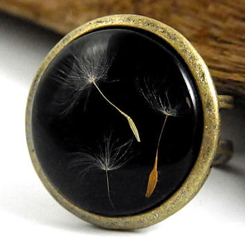 Real dandelion seeds ring - statement ring, bronze color with real dried dandelion seeds. Unique natural jewelry for her.