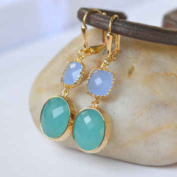 Turquoise Oval Drop and Periwinkle Stone Dangle Earrings in Gold. Fashion Earrings. Jewel Earrings. Free Shipping.