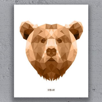 Bear Print Printable Typography Poster Geometric Brown Print Wildlife Polygon Animal Art Retro Art Print Instant Download Digital Print