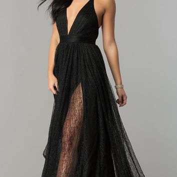 Deep-V-Neck Lace Floor-Length Prom Dress