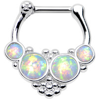 "16 Gauge 1/4"" White Synthetic Opal Steel Bar Bead Hoop Septum Clicker"