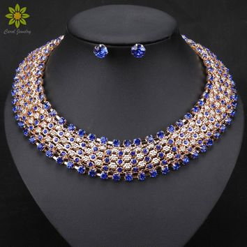 Statement Necklace Fashion Women Vintage Choker Collar Gold Color Chain Crystal Necklace Earrings Jewelry Sets