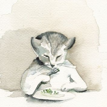 cat print- EAT YOUR PEAS - cat art, Archival print of watercolor