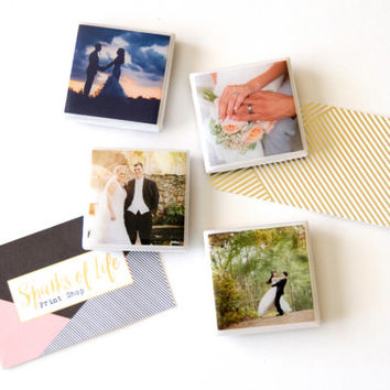 Anniversary gifts, wedding magnets, engagement gifts, wedding gifts personalized magnets, wedding photo magnets gift for her tile magnet set