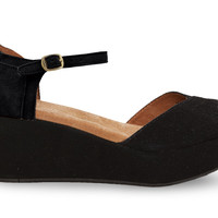 TOMS Black Suede Women's Platform Wedges Black