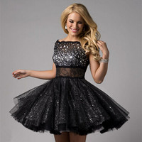 black sheer tulle Cocktail Dresses Homecoming Dresses Beaded A line Prom Party Gowns Short mini high fashion cocktail dress 2017