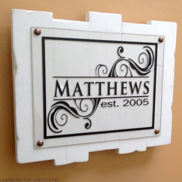 Last Name Sign Family Established Sign Family Name Sign Personalized Family Sign 12x10