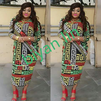 2016 new fashion 100% cotton bazin print dashiki yamadou elastic sleeve loose style color pattern dashiki dress for lady