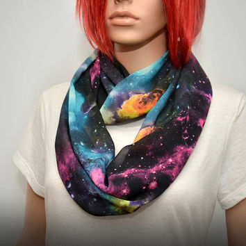 Light and colorful infinity scarf with galaxy print. Chiffon scarf. Light Scarf. Summer scarf. Spring scarf.