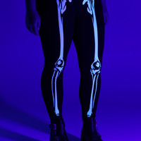 Blackheart Skeleton Glow-In-The-Dark Leggings Plus Size