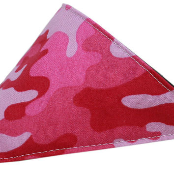 Pink Camo Bandana Pet Collar Black Size 20