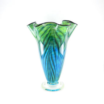 LARGE Hand Blown Glass Vase - Turquoise, Apple Green, and Lapis Blue - Ocean - Fluted - Freeform - Azure - Art Glass Vase