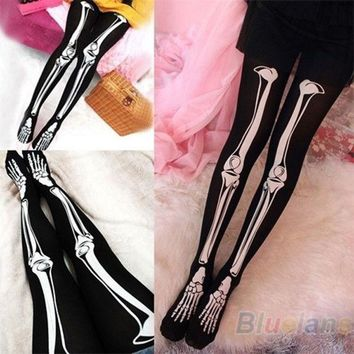 ONETOW Womens Sexy Black Skeleton Tattoo Socks Pantyhose Stockings Tights Leggings Hot = 1932346308