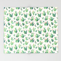 Cactus Drops Throw Blanket by Tasteful Tatters | Society6