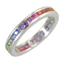 3ct Multicolor Rainbow Sapphire Eternity Band by RainbowSapphire