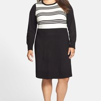 Stripe Bodice Fit & Flare Sweater Dress (Plus Size)