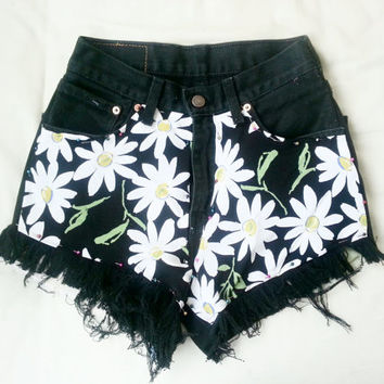 Daisy Denim shorts shredded MADE TO ORDER