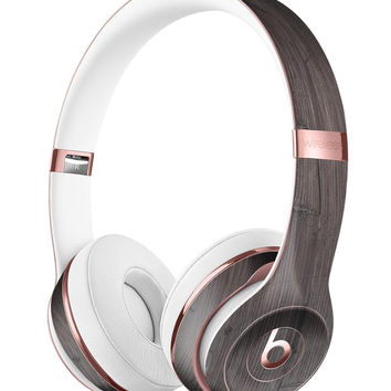 Scratched Horizontal Dark Woodgrain Full-Body Skin Kit for the Beats by Dre Solo 3 Wireless Headphones