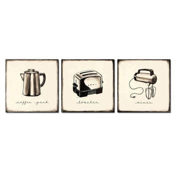 3PCS Retro appliances Toaster Teapot Wall Vintage Oil Painting Prints on Canvas  Landscape Pictures Home Decor Cuadros